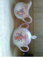 ANTIQUE VINTAGE ELEANOR BAVARIA HAND PAINTED LUSTREWARE SUGAR AND CREAMER SET