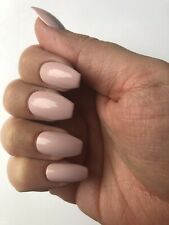*Handpainted Press On False Nails Nude Pink Short Coffin*