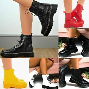 Womens Ladies Chunky Ankle Boots Lace Up Ankle Boots Platform Goth Punk Black UK