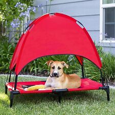 Raised Mesh Cot Cooling Dog Bed with Removable Canopy Shade Tent