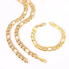 24k Yellow Gold Filled 10mm Mens Necklace Bracelet Set Figaro Chain
