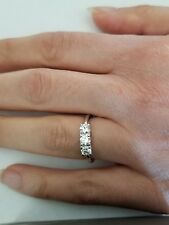 0.75 TCW 3 Stone Diamond Past Present Future Engagement Wedding Ring,14K White G