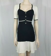 Karen Millen Black Cream Knitted Bodycon Dress Size 2 UK 10 Short Sleeve