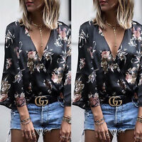 Womens Floral Chiffon Shirts Blouse Casual Loose Long Sleeve T-Shirt Summer Tops