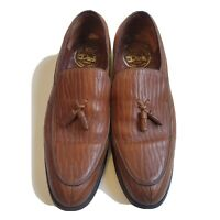 Vintage 80's Dack's Mens 11D Baffin Seal Exotic Leather Brown Tassel Loafers