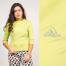 ADIDAS T-SHIRT Y2K TOP WOMENS LIGHT GREEN LOGO PRINT VINTAGE 3/4 SLEEVE 10 12