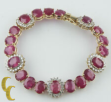 14k Yellow Gold 45.27 carat Ruby & 2.48 carat Diamond Bracelet w/ Cert