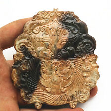 old chinese hongshan culture manual jade carved exquisite lion head statue F834