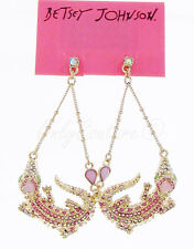 NEW BETSEY JOHNSON 'Reptiles' Pave Alligator Gold-Tone Swag Drop Earrings