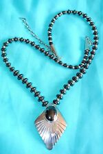 "VTG BLACK GEMSTONE NECKLACE 23"" WITH PENDANT STERLING SILVER CONES HOOK BEADS"