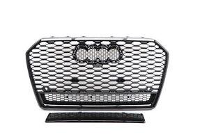 Für Audi A6 4G C7 14-18 RS-Look Wabengrill in Schwarz Hochglanz mit Frontkamera