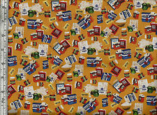Quilting Tresures - Paddington's Party Food - Quilting / Patchwork Fabric - Gold
