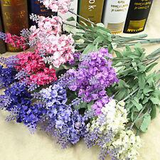 10 Heads Silk Dried Artificial Lavender Flowers Bouquet Wedding Home DIY Decor