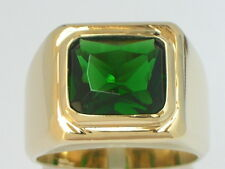 11 X 9 mm May Green Emerald Birthstone Men's Solitaire Jewelry Ring Size 10