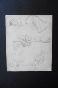 FRENCH SCHOOL CA. 1900 - STUDIES WOMEN AND MAN - BELLE EPOQUE - PENCIL DRAWING