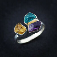 Handmade Rough Stone Ring Natural Amethyst Citrine Apatite 925 Sterling Silver