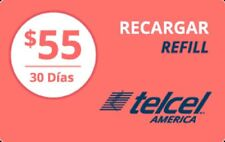 TelCel America  Prepaid $55 Refill Top-Up Prepaid Card ,PIN / RECHARGE