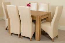 Kuba Chunky 125cm Kitchen Solid Oak Dining Table and 6 Ivory Leather Chairs