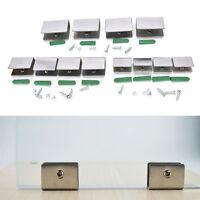 4pcs 6-12mm Stainless Steel Square Clamp Holder Clip For Glass Shelf Handrail FT