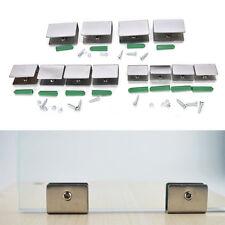 4pcs 6-12mm Stainless Steel Square Clamp Holder Clip For Glass Shelf Handrail Fy