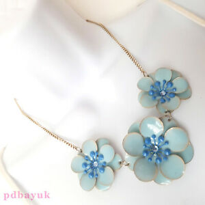 "Dorothy Perkins Blue Flower Bead Necklace & Earrings NWT 46cm 18"" UK ~2729"