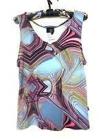 Just Cavalli Multicolor Artsy Swirl Print Sleeveless Top Sz L Made In Italy