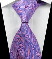 New Classic Paisleys Pink Purple JACQUARD WOVEN 100% Silk Men's Tie Necktie