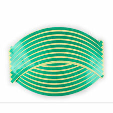 REFLECTIVE MOTORCYCLE/ CAR RIM STRIPE WHEEL DECAL TAPE STICKER 16 STRIPS - GREEN