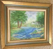 ORIGINAL BLUEBONNET COUNTRY OIL PAINTING BY TEXAS ARTIST NINA MAE GREEN - 1978