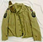SALTY ORIGINAL WWII US AIRBORNE TROOP CARRIER M41 FIELD JACKET W/ CAP & INSIGNIA