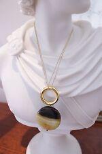 """Noa Sade Lionette """"Debut"""" 14K Gold Vermeil Double Strand Agate Pendant Necklace"""