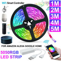 5050 WiFi Smart 5V USB RGB LED Strip Light Tuya APP For Amazon Alexa Google