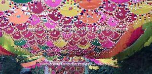 Hippie Indian Gujarati Kutch Mirror Work Handmade Spinner Pankhi Fan Wedding Art