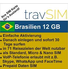 Prepaid Daten SIM Brasilien + 12 GB für 30 Tage