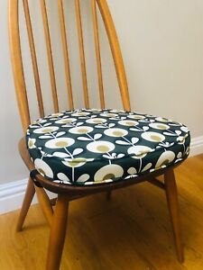 MyHome NEW Seat Pads / Cushions For Ercol Dining Chairs (Orla Kiely Style Green)