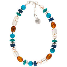 NEW * BE-JEWELLED STERLING SILVER AMBER PEARL TURQUOISE LAPIS NECKLACE RRP £345