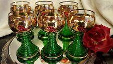 6 Vntg 6oz Glass Wine Goblets GOLD PLATE, RED CRYSTALS/CUT LEAVES/SCROLLS GERMAN