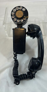 VINTAGE ANTIQUE BLACK WALL MOUNT SPACESAVER ROTARY TELEPHONE-WESTERN ELECTRIC