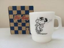 Snoopy Tokyo Museum Limited Mug Fire King White Happy Dance from Japan Rare F/S