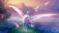 UNICORN PEGASUS MOUNTAINS QUALITY CANVAS ART PRINT- Poster 24x18""