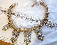 "Vintage HUGE CHUNKY Gold Tone Mesh Rhinestone Necklace 20"" + ext."