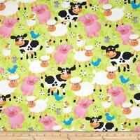 Fabric Farm Animals on Thick Green Flannel By The 1/4 yard