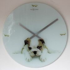 NEW 43cm Large Nextime Bulldog Puppy Wall Clock - Glass Modern Dog Clock Gift