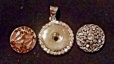 2 Snaps (Antique Silver/Smokey Quartz), Crystal Silver Snap Pendant, 26 in Chain