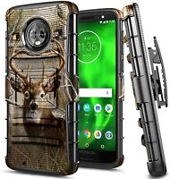 For Motorola Moto G6 Case, Armor Belt Clip Holster Phone Cover With Kickstand