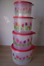 Tupperware Set 4 Tulip Round Nesting Storage Canister Container   New