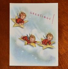 UNUSED ©1948 Vintage MARJORIE COOPER RUST CRAFT CHRISTMAS CARD ANGELS ON STARS