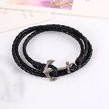 Men's Leather Alloy Anchor Bracelet Multilayer Woven Cuff Bracelet
