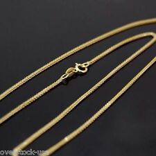 17INCH Pure 18K Yellow Gold Necklace 1mm Foxtail Link Chain Necklace Au750