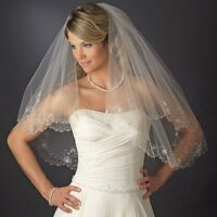 Double Beaded Embroidered Edge Bridal Fingertip Veil White Ivory Silver Gold